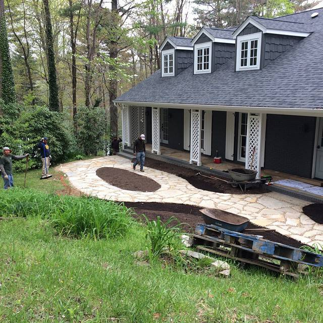 A front courtyard underway near Cashiers, NC.
